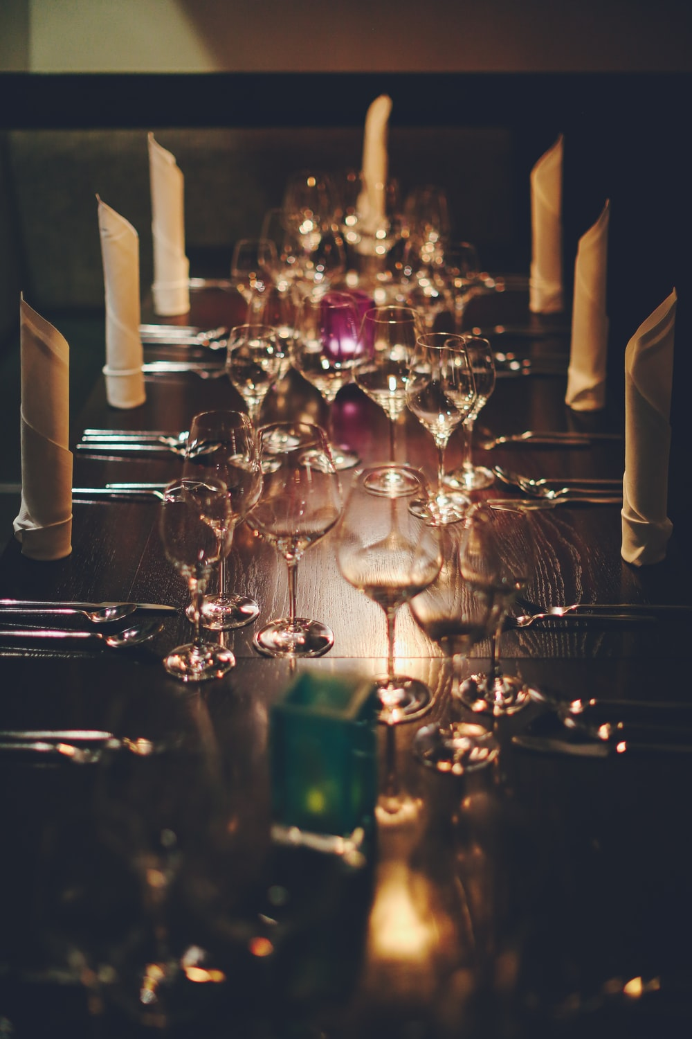 wine glasses on top of table