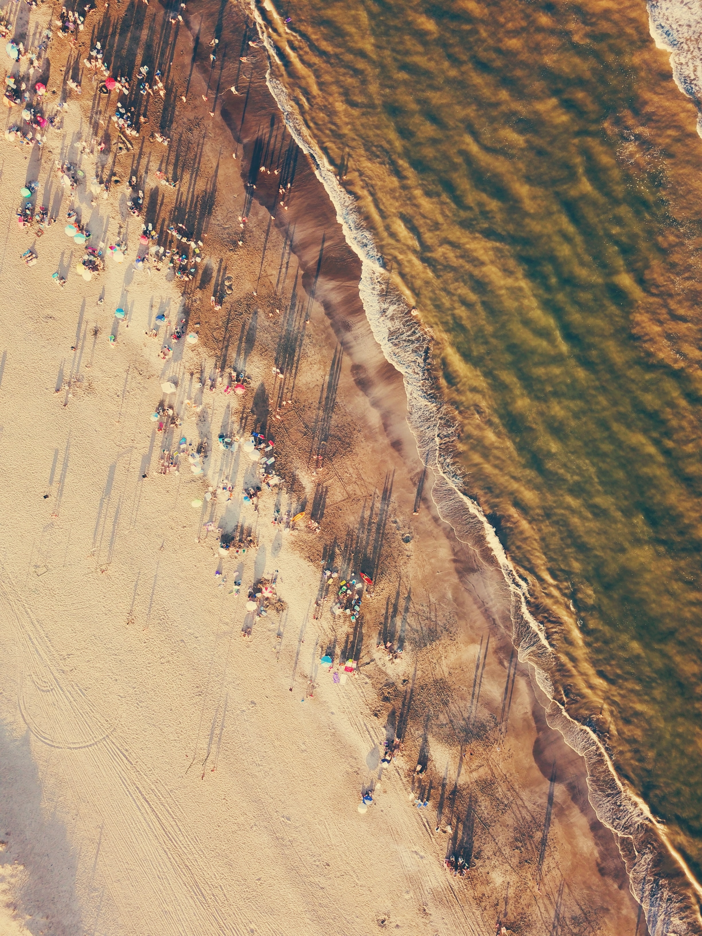 aerial view of people near body of water