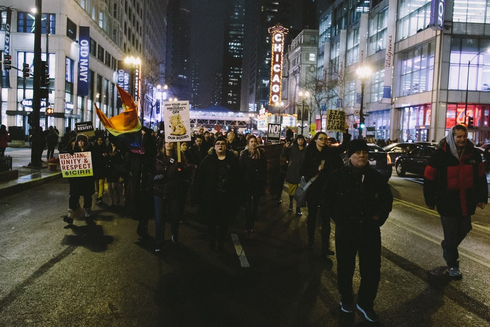 protesters on the middle of road