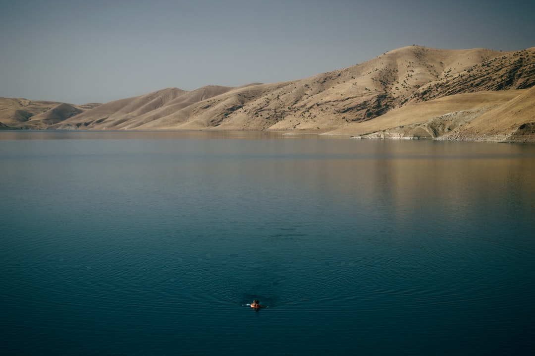 Swimmer in the artificial lake of Dukan Dam, located in the Sulaymaniyah Province of the Kurdistan Regional Government.