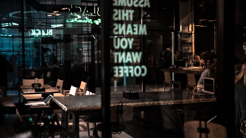 glass wall and glass door of coffee shop
