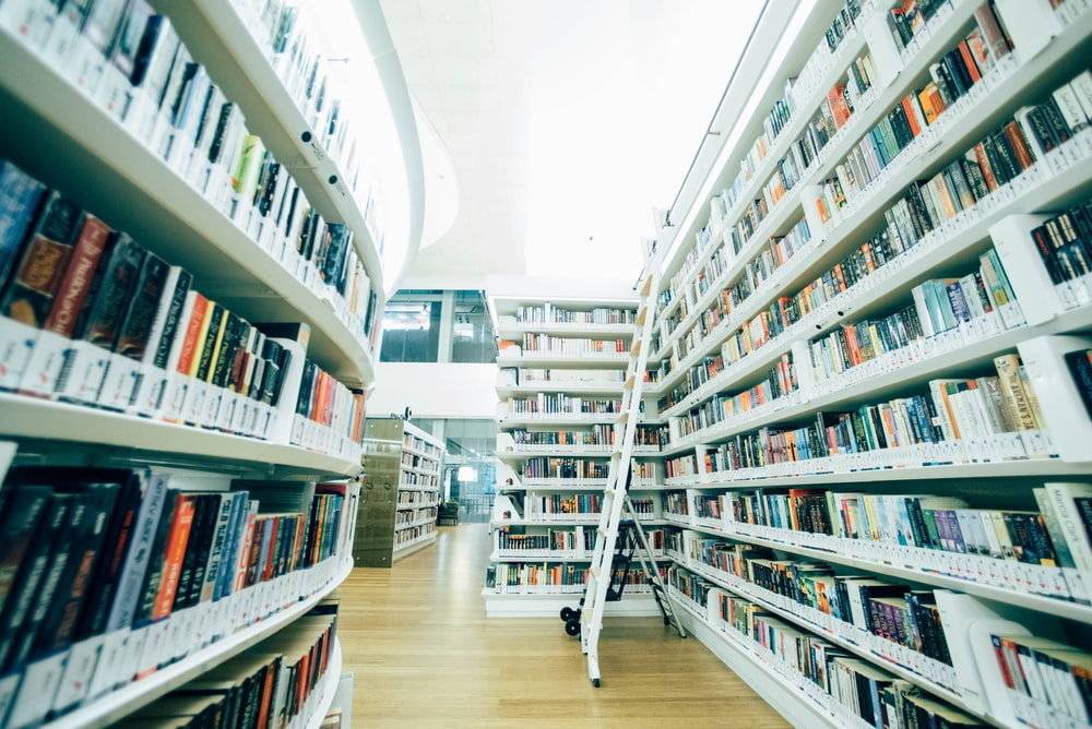 white stairs inside the library