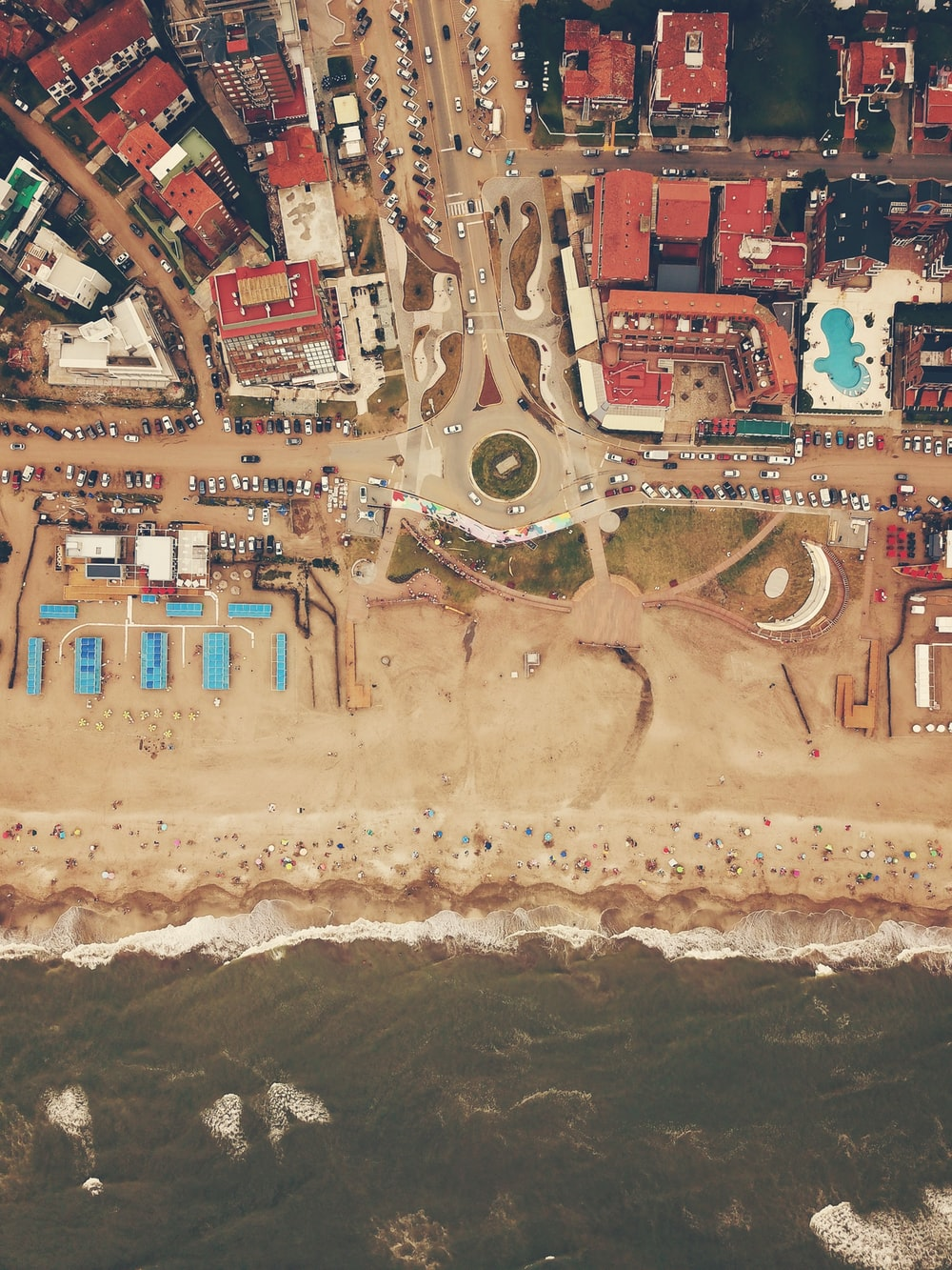 aerial view of busy of road near seashore