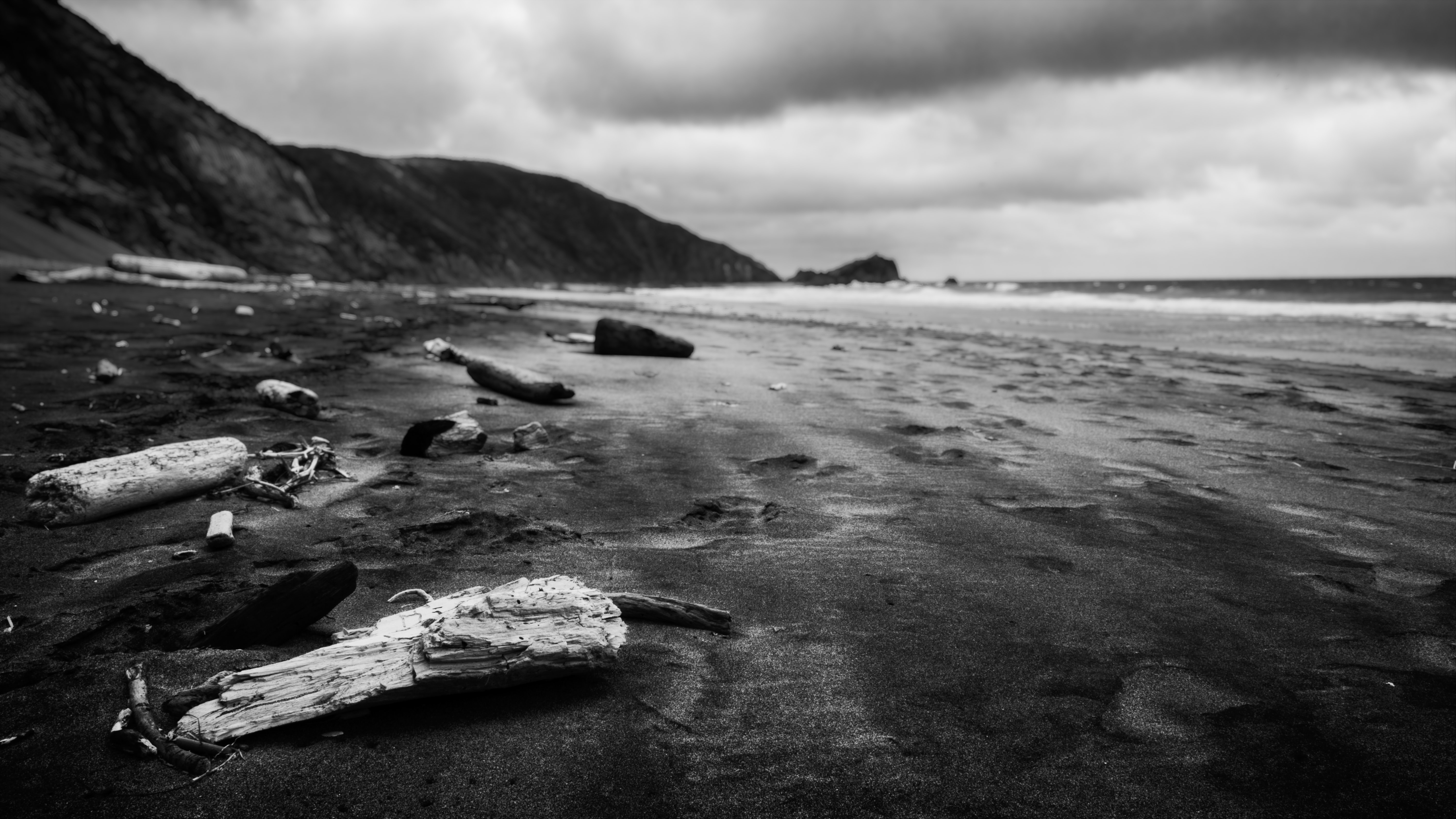 grayscale photography of coastline