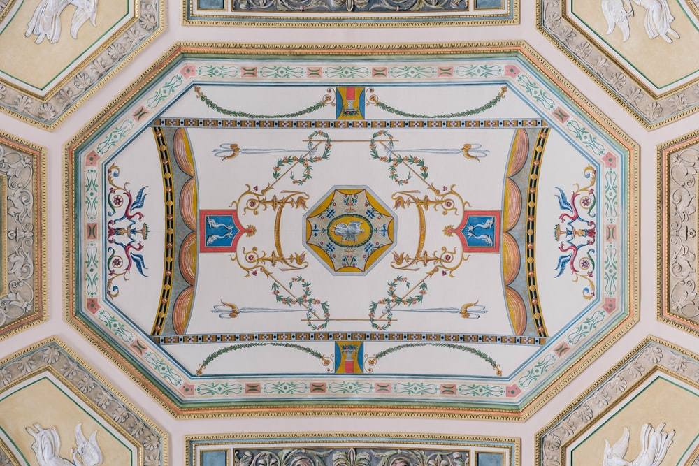 beige and blue ceiling