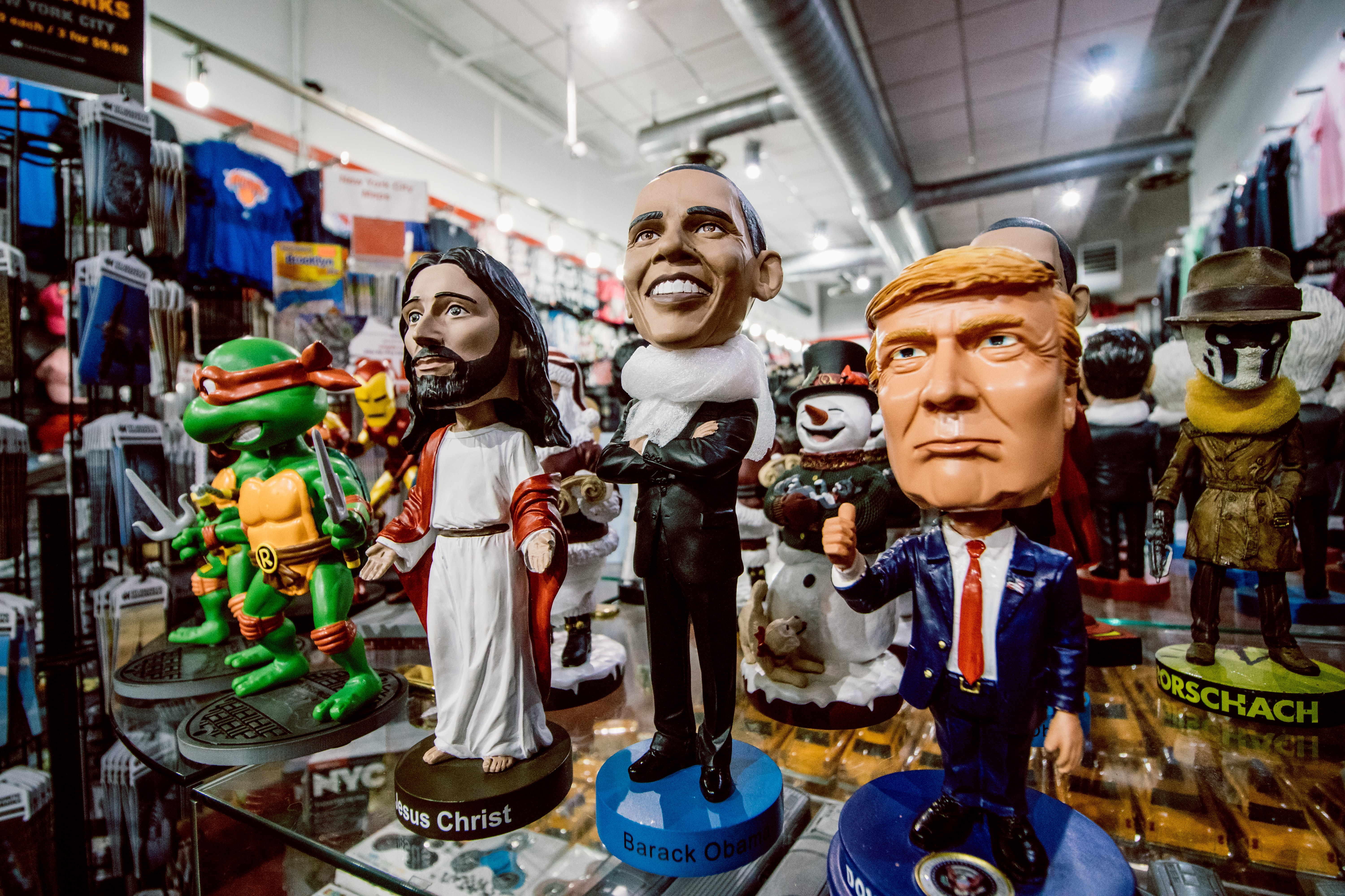 assorted bobblehead figurines inside the store