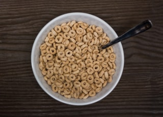 cereals in bowl with spoon