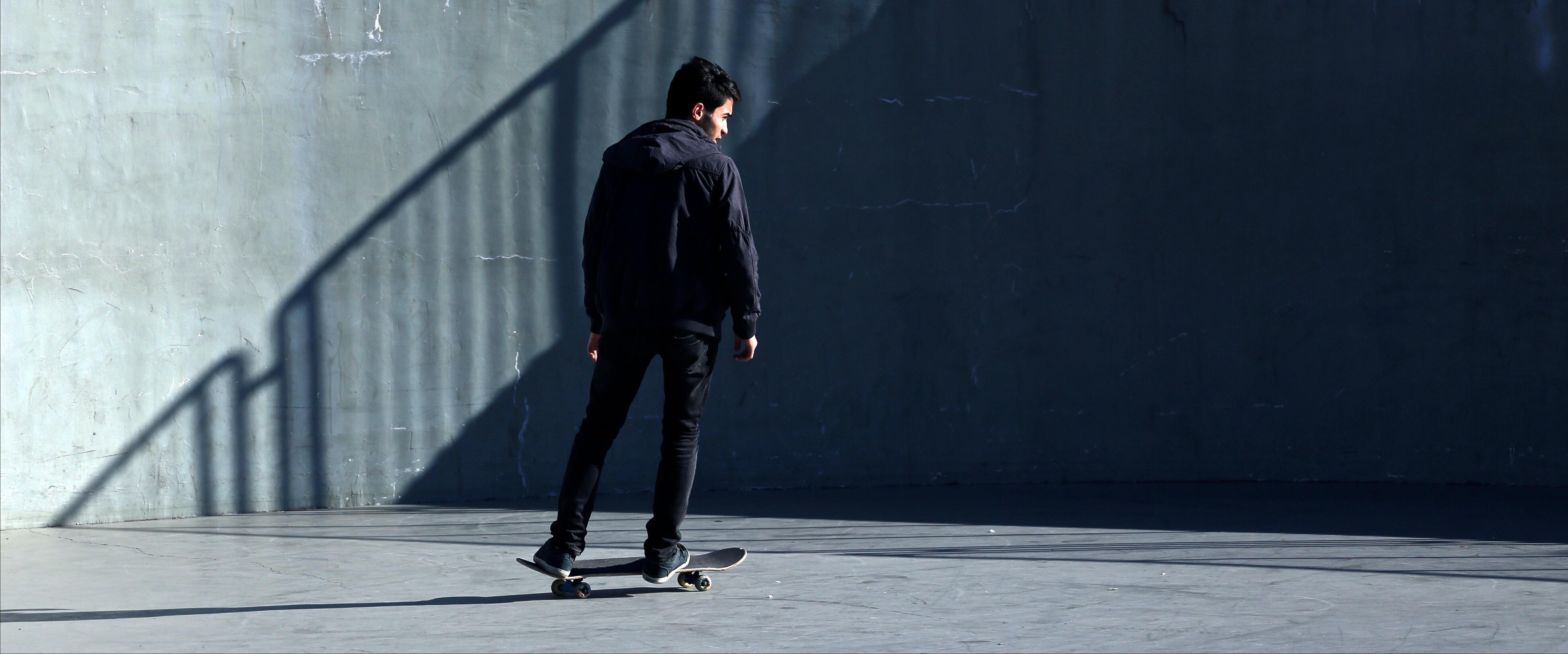man skating at park