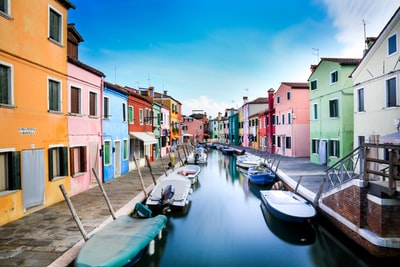 boats on canal between houses during daytime italy teams background
