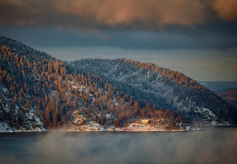landscape photography of an island