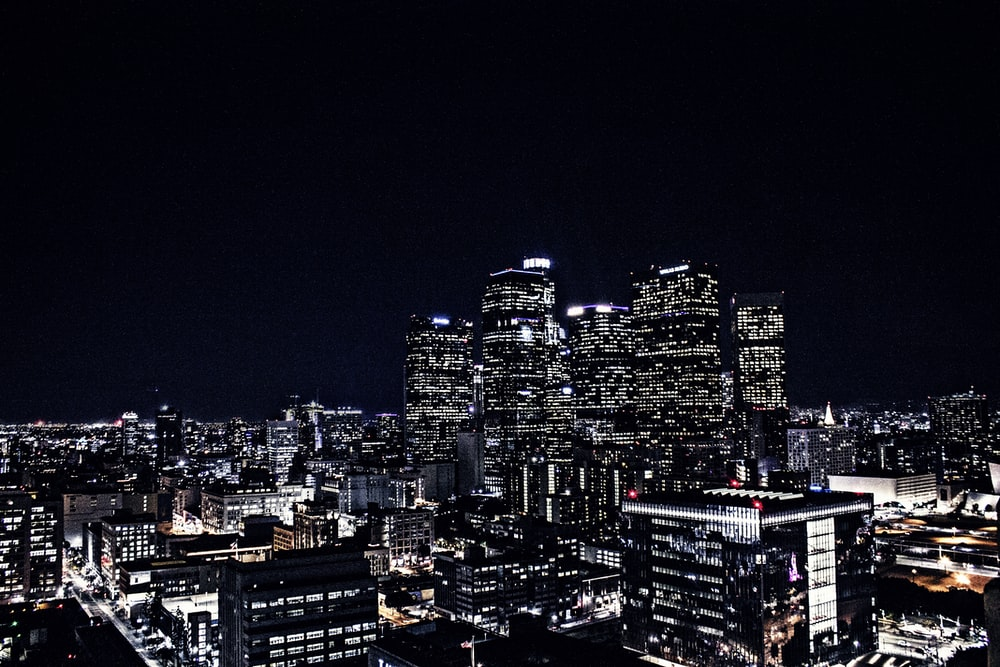 aerial view of cityscape during night time