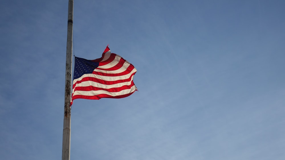 America flag on pole