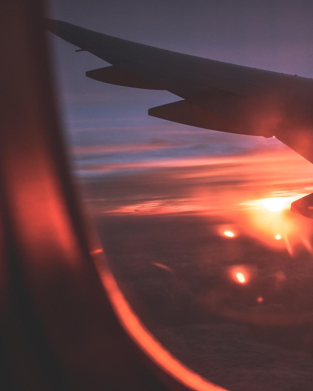 plane flies during golden hour
