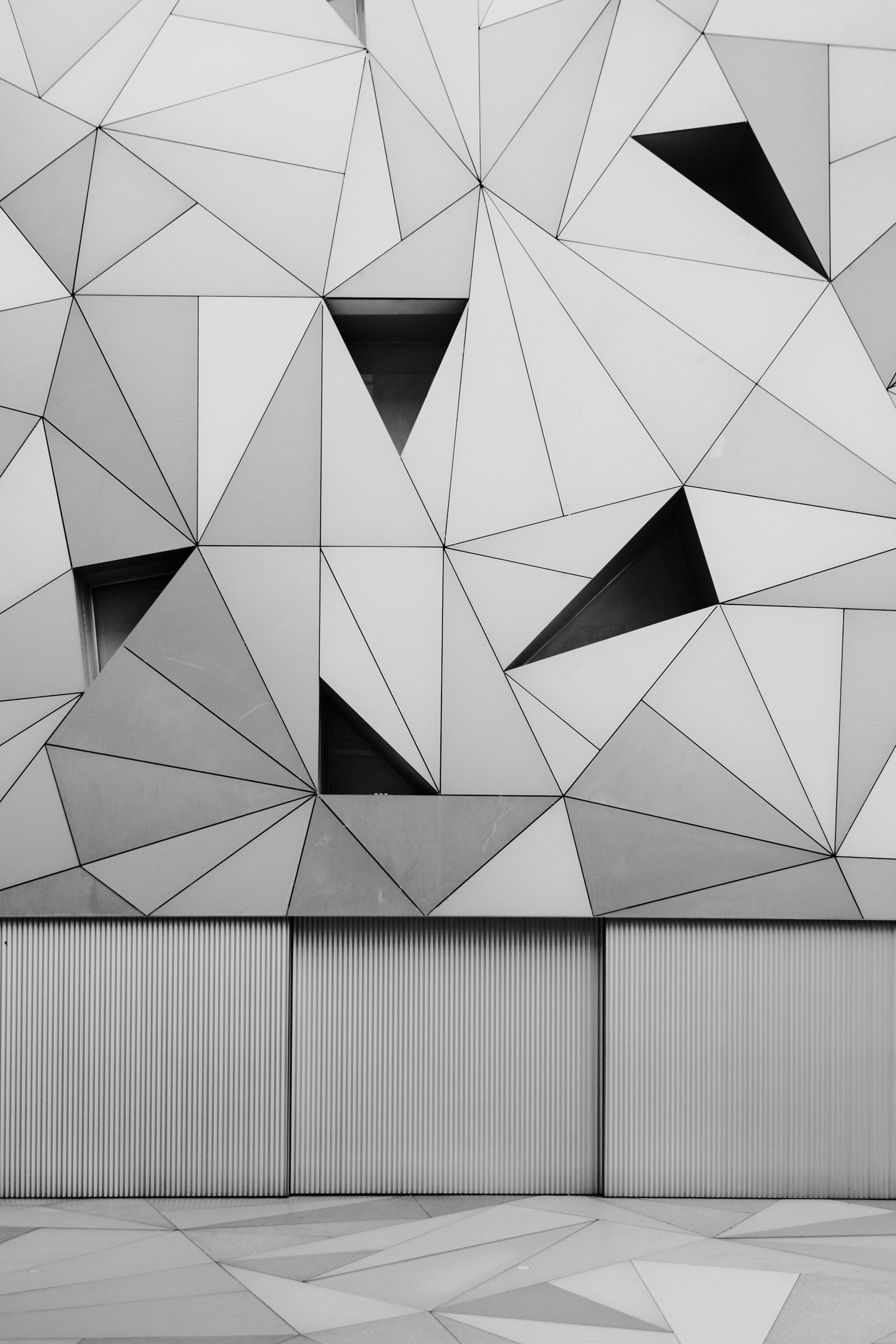 photo of black and gray diamond wall art