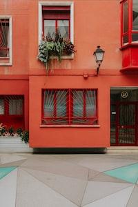 orange painted concrete house