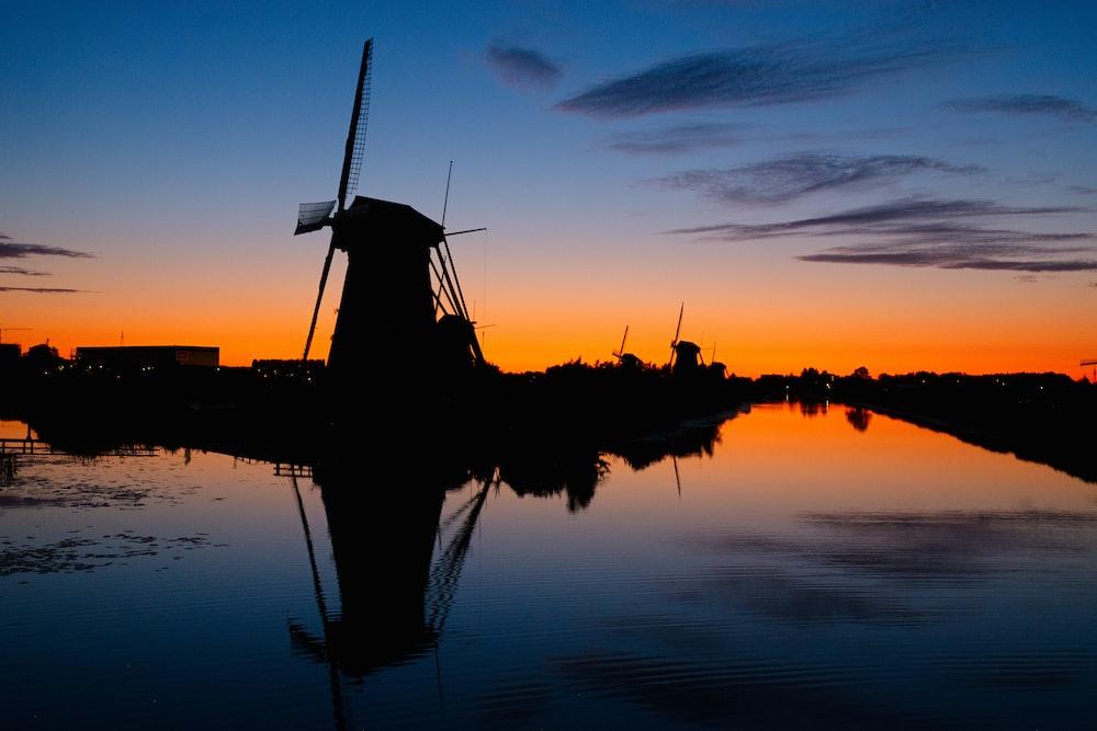 silhouette wind mill