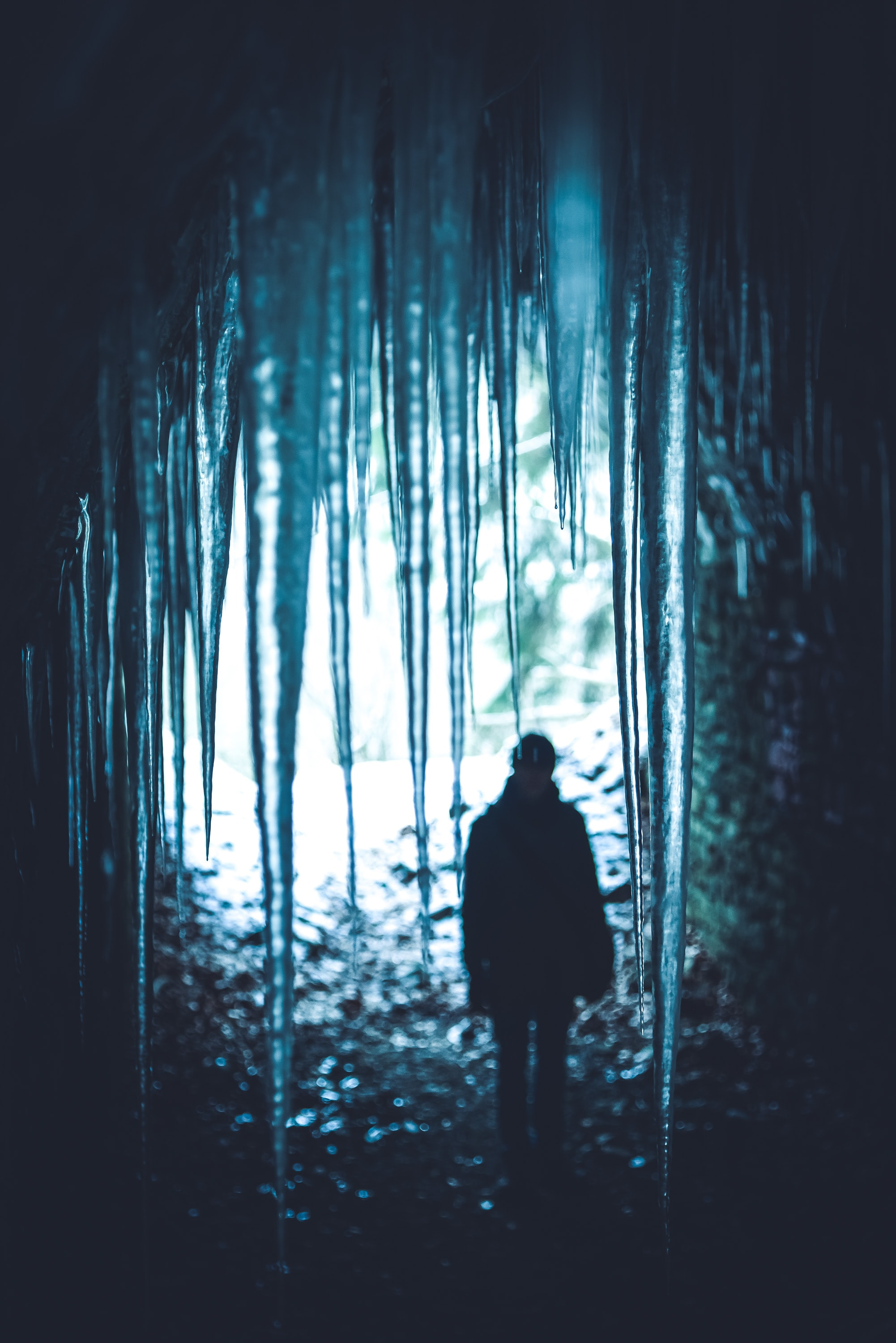 person in spiky ice cave