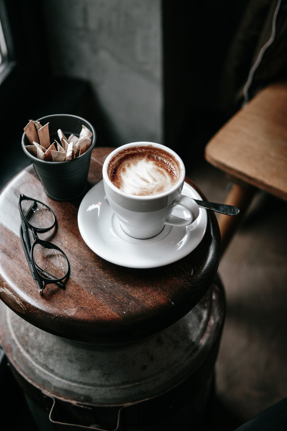 white mug filled with cappuccino