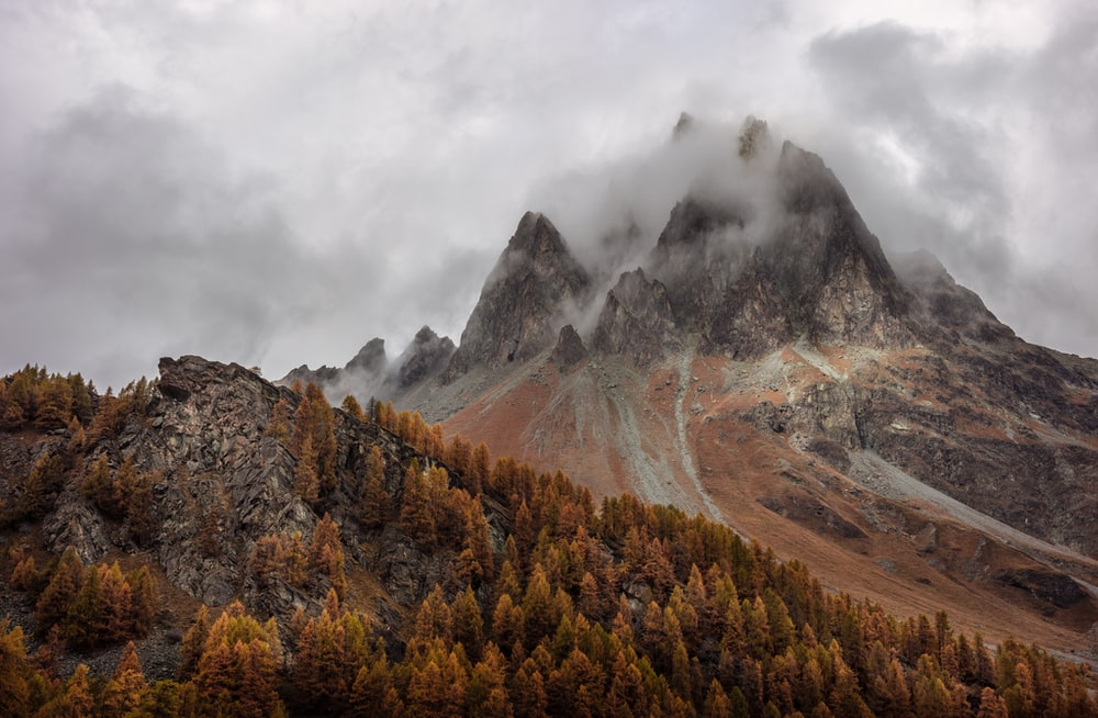 mountain near trees under cloudy sky
