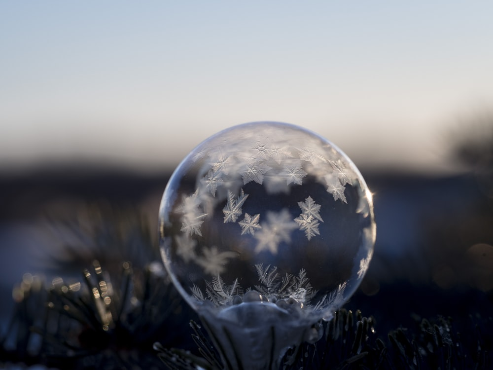 closeup photography of frozen bubble