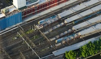 aerial photography of white trains