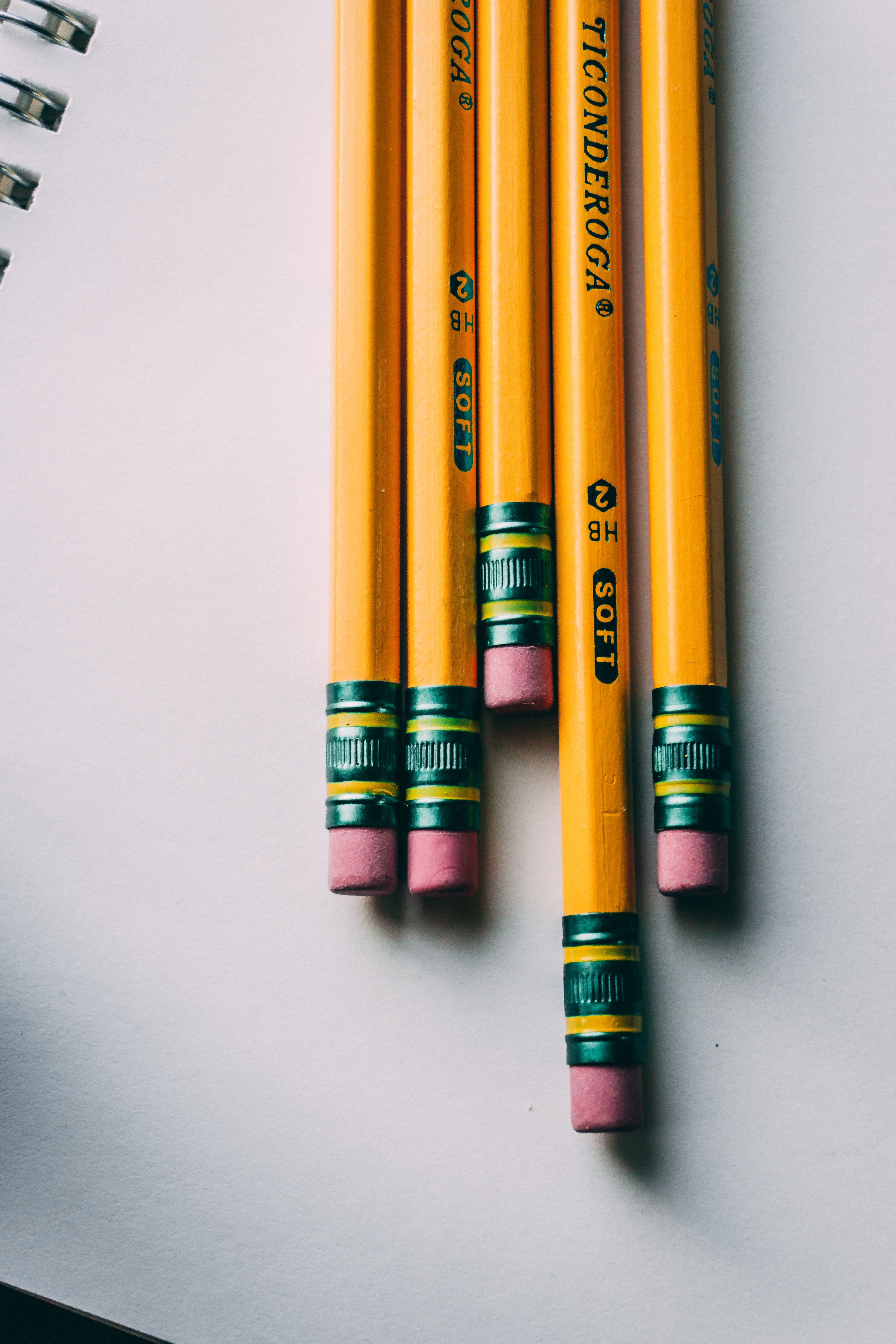 five brown pencils