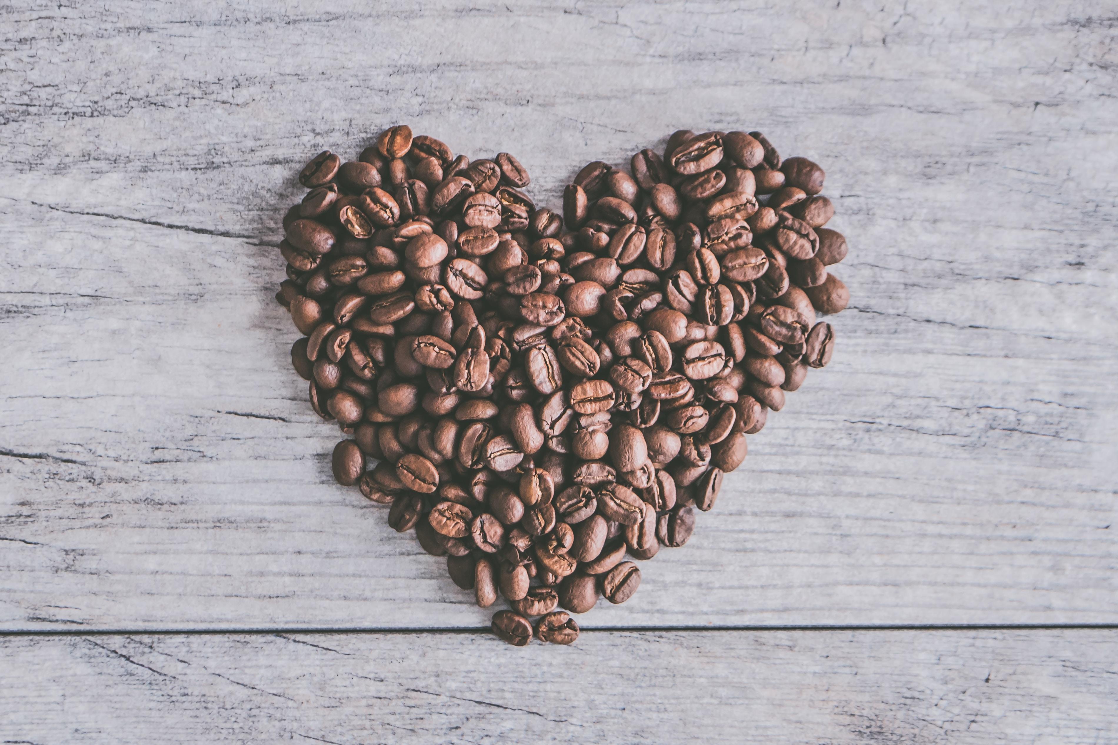heart coffee beans