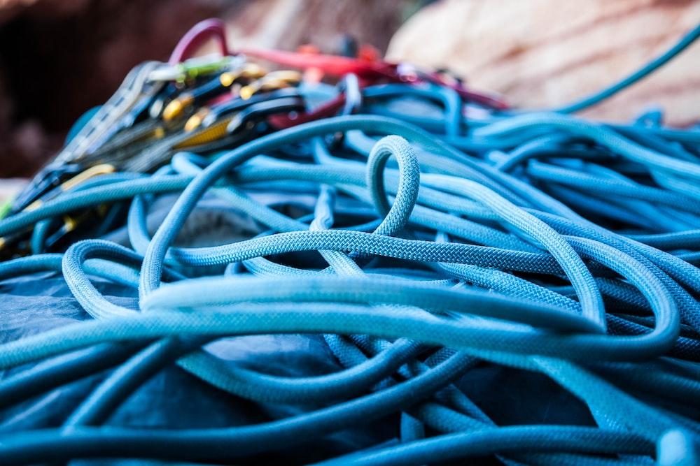 closeup photo of blue strings