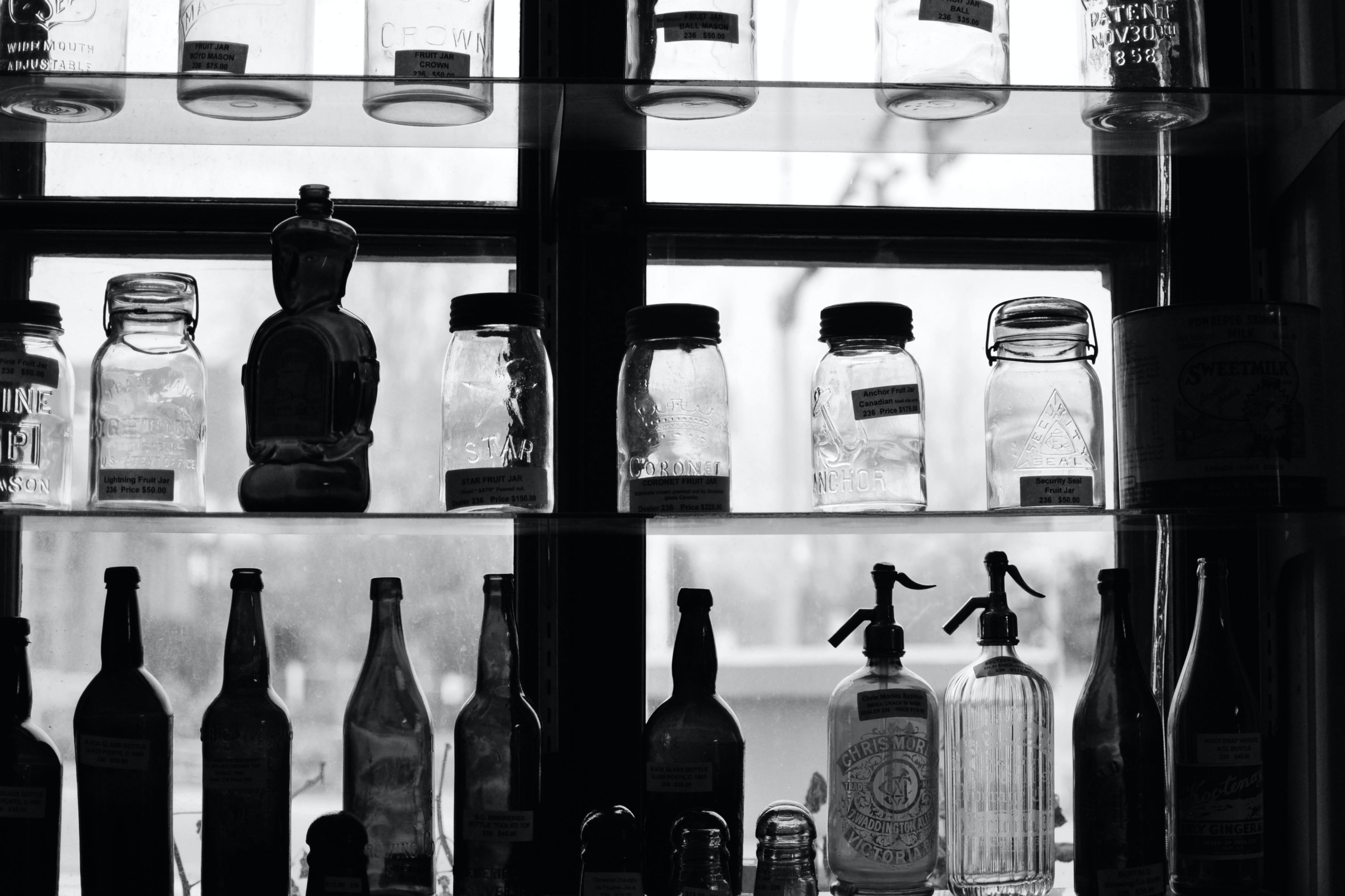 glass mason jars and bottles