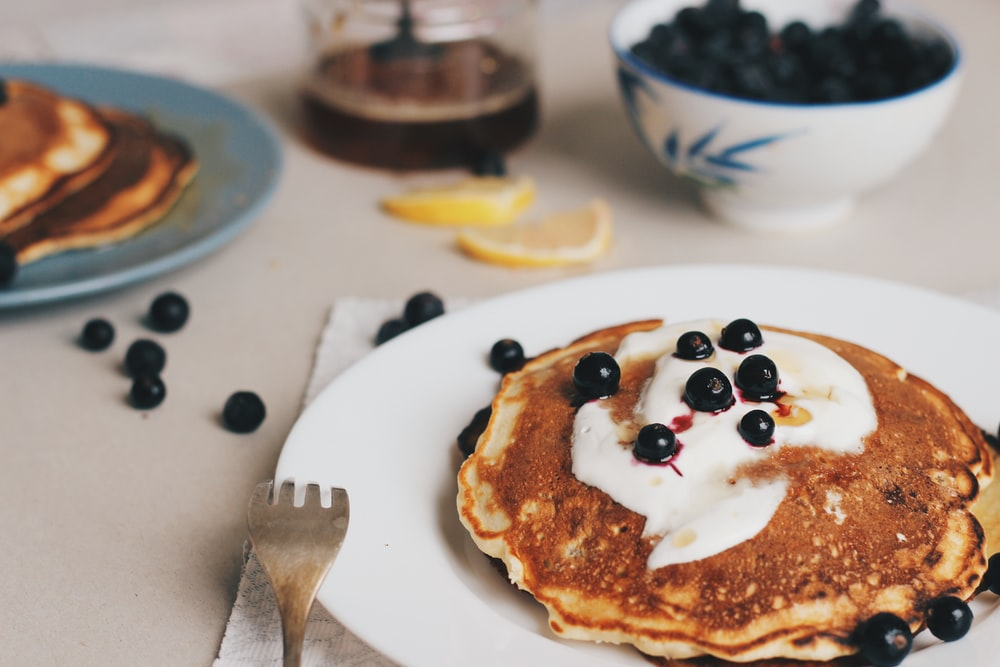 pan cake with berries on top