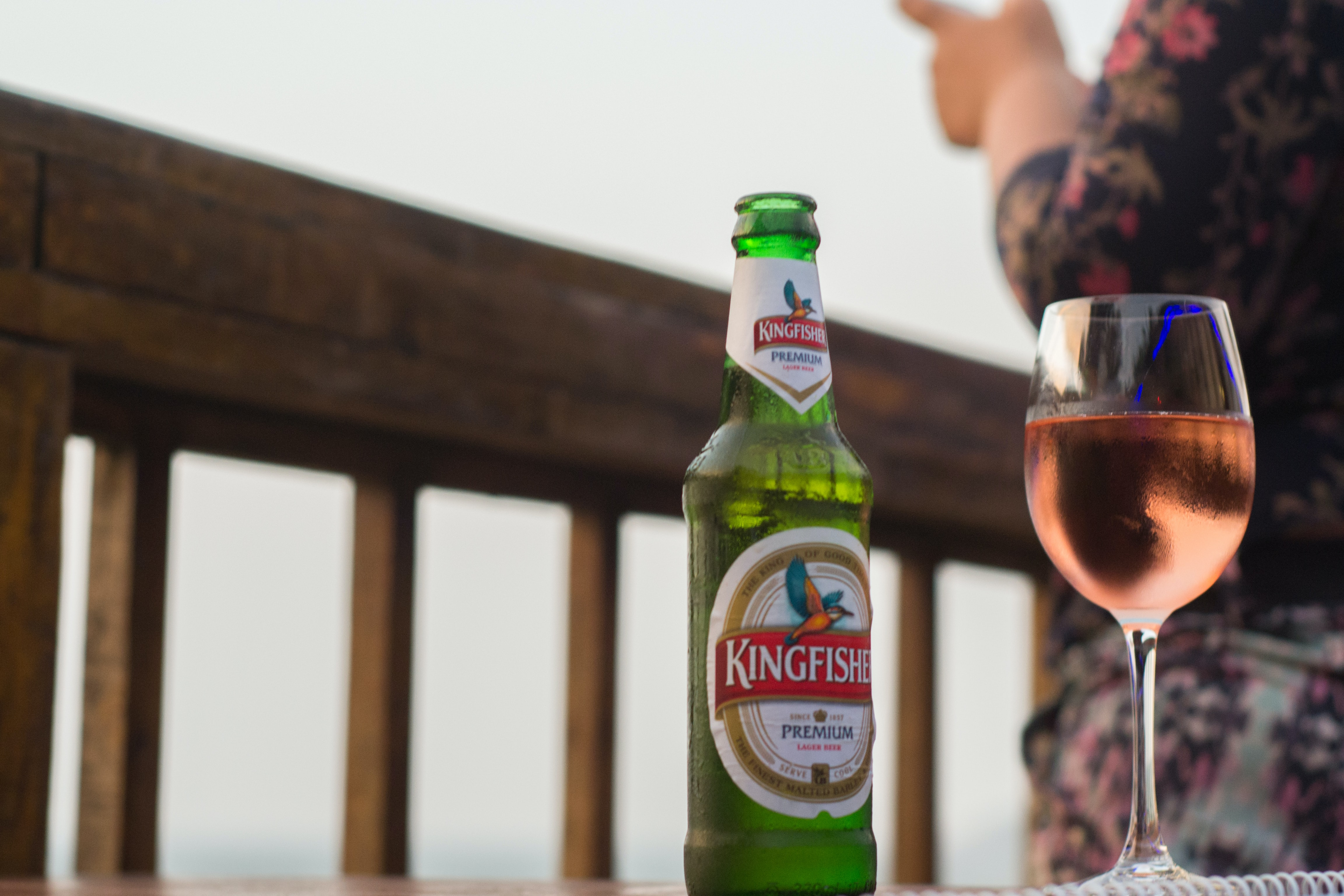 Kingfisher bottle and wine glass