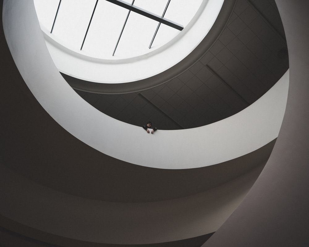 architectural photography of white and gray building