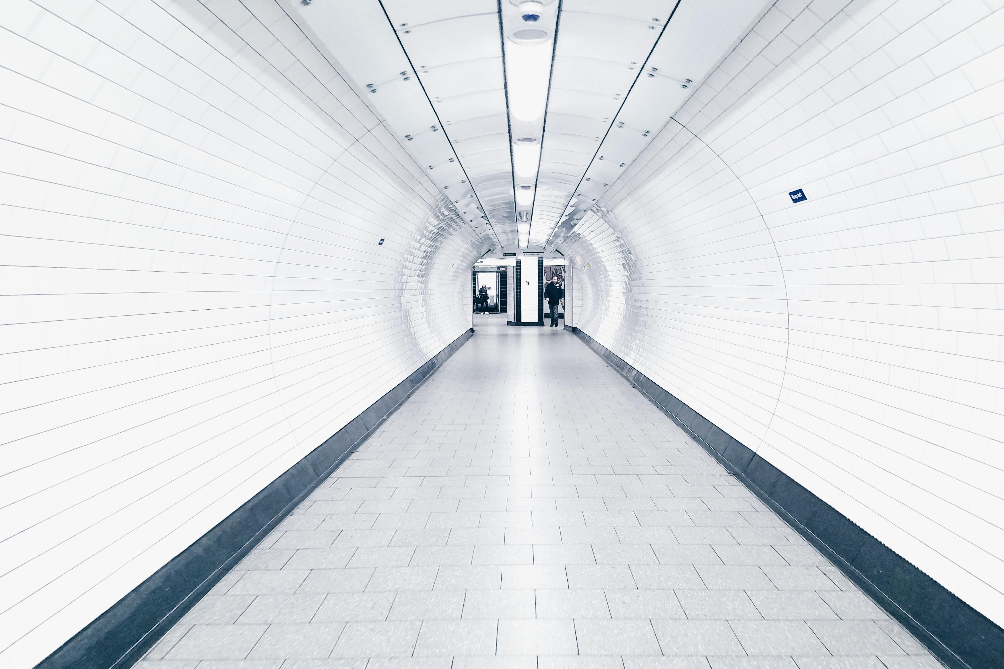 white painted hallway