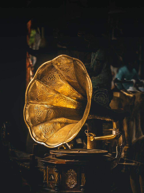 closeup photo of gramophone