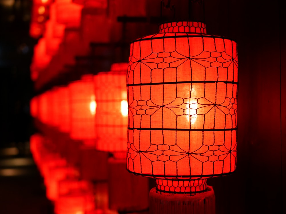 shallow focus photography of red paper lanterns