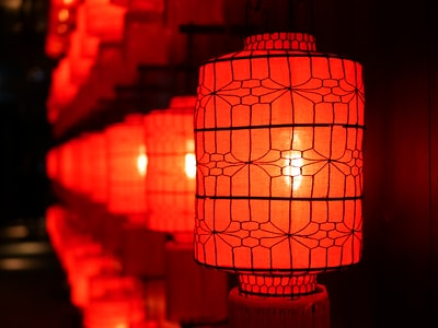 shallow focus photography of red paper lanterns chinese new year teams background