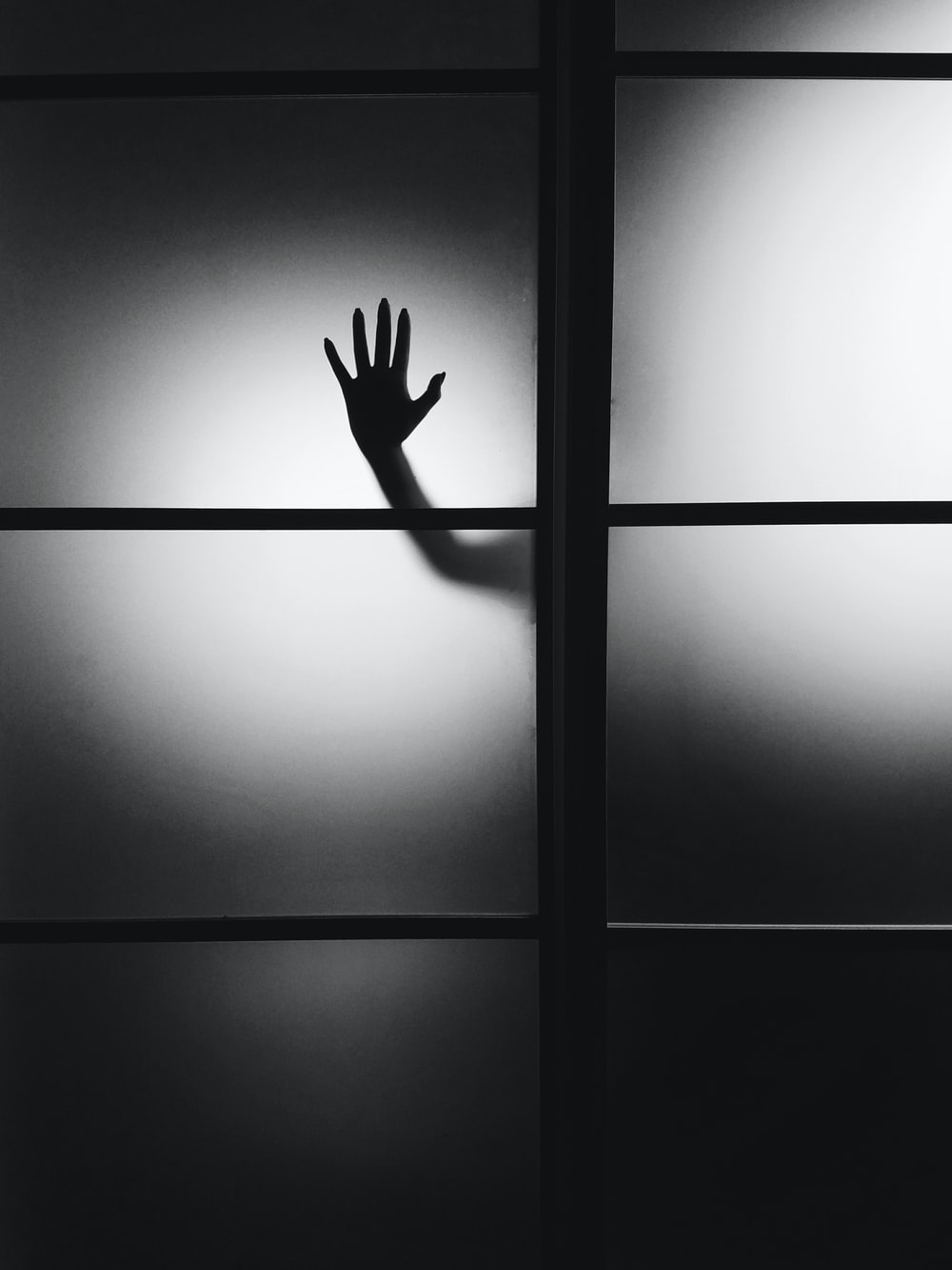 photo of person's hand on wall