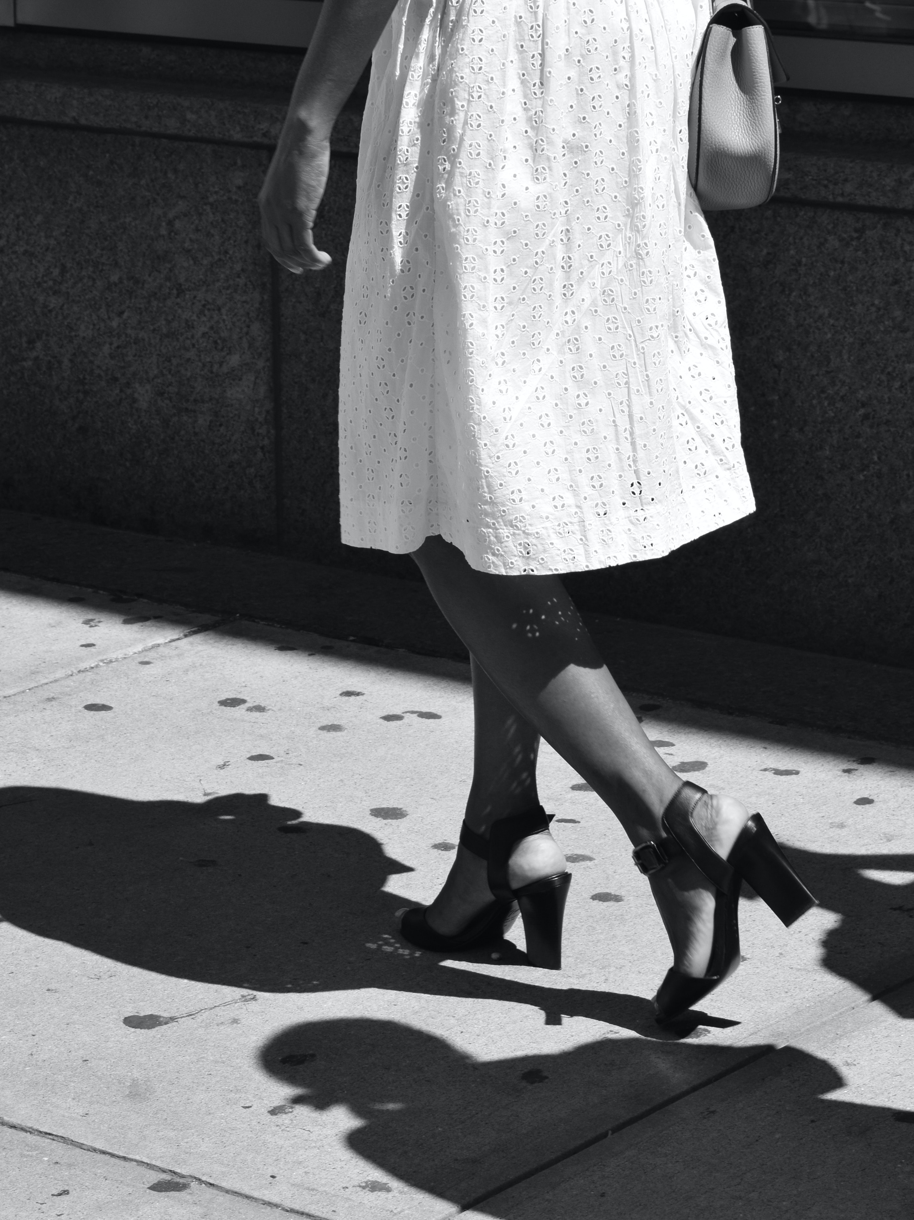 woman wearing dress in grayscale photography