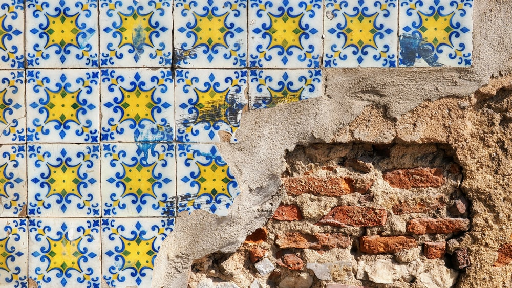 yellow and blue floral ceramic tiles