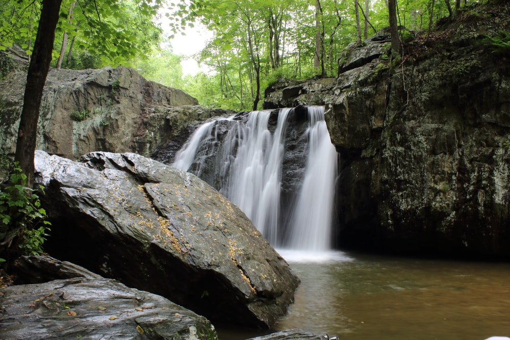 landscape photography of waterfalls