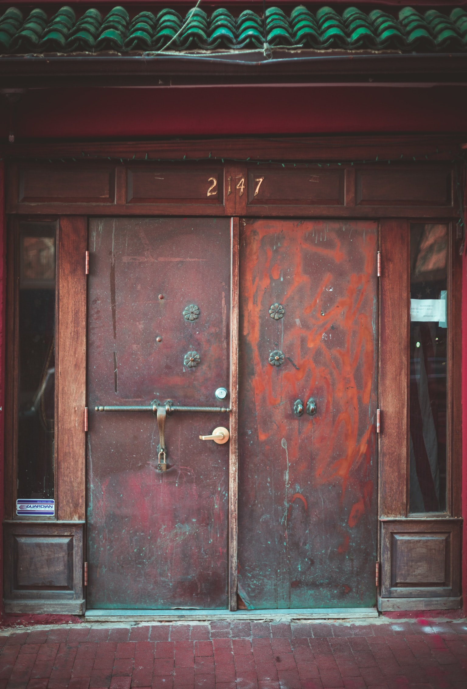 brown wooden door closed