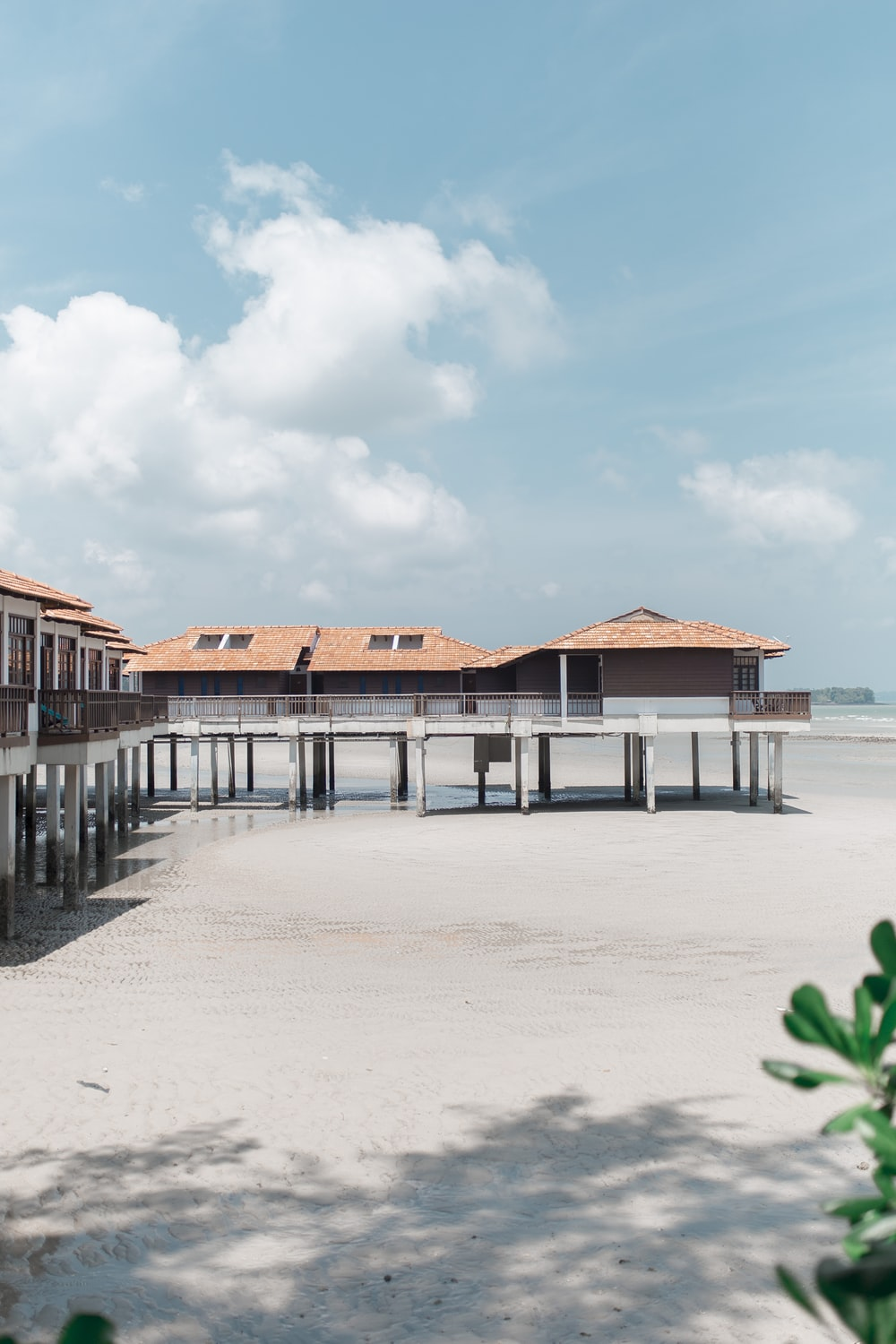 white and brown wooden beach house
