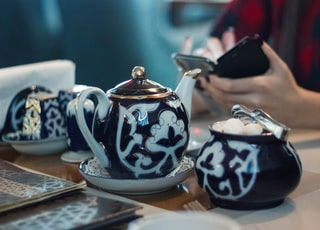 person sitting in front white and black ceramic tea set