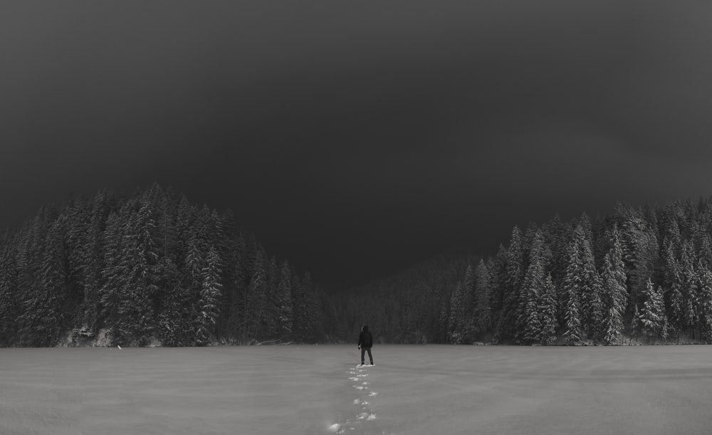 grayscale photography of person standing on snow field
