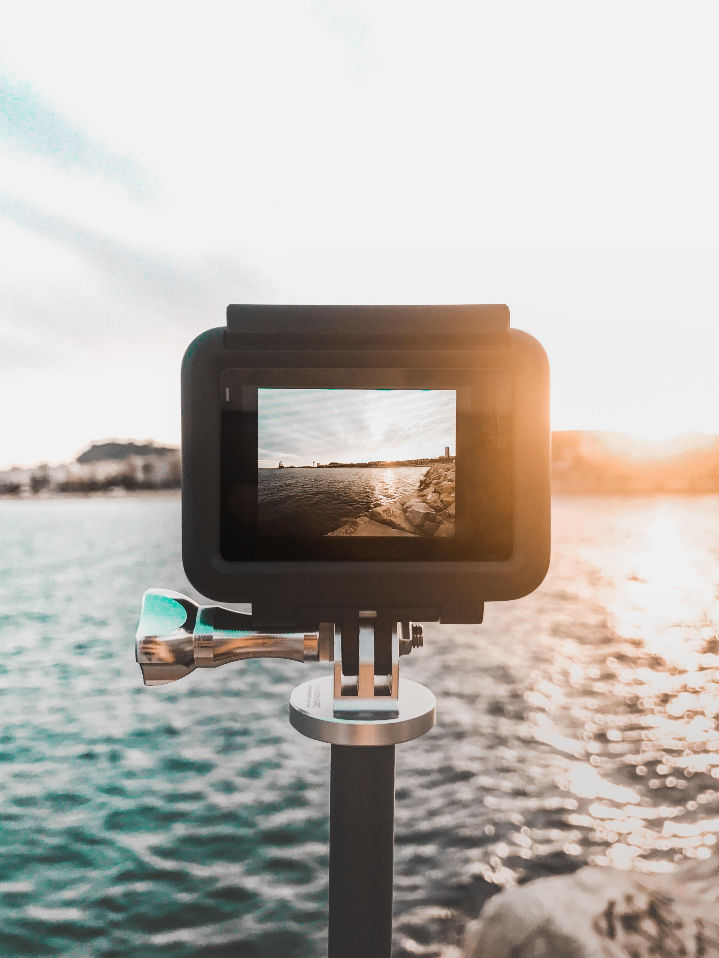 ocean showing on black camera during daytime