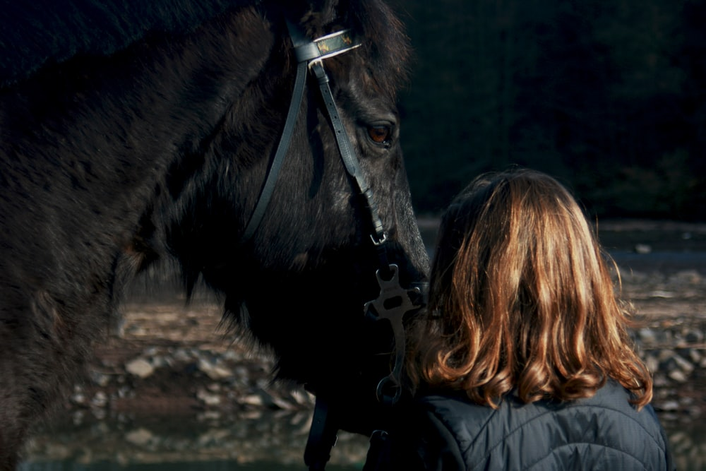 woman standing beside black horse