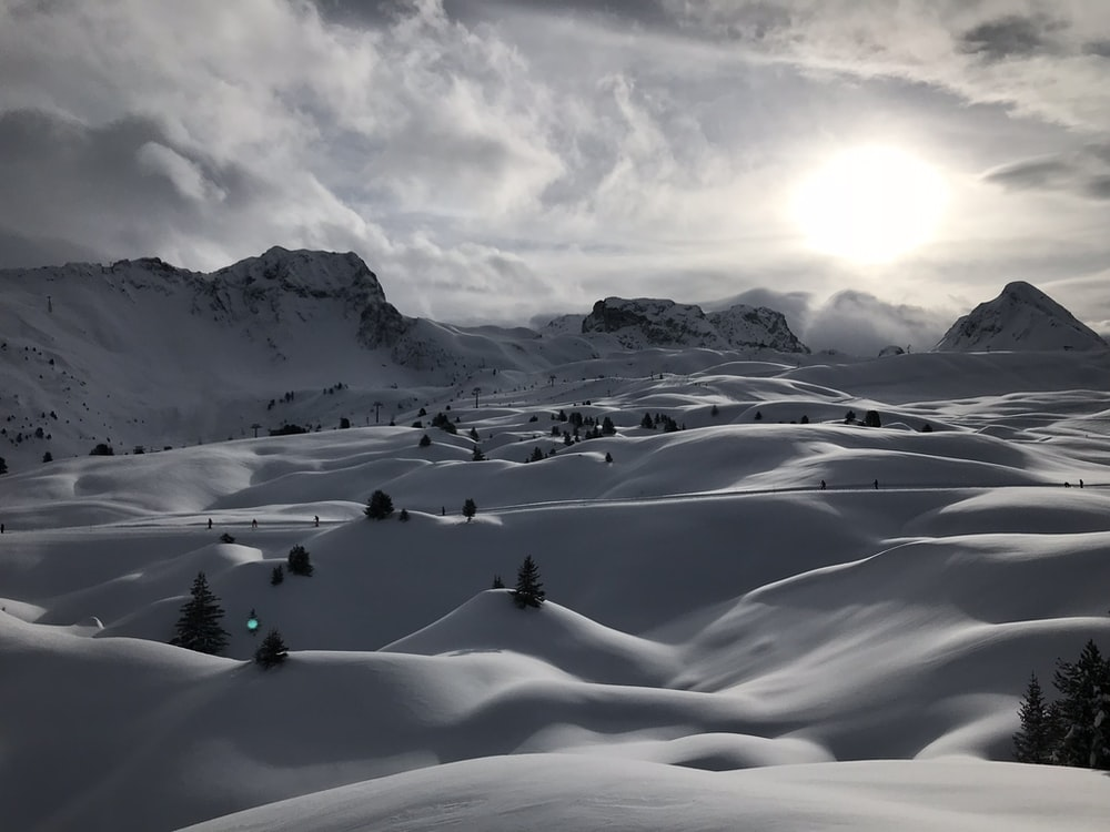 snowfield during golden hour