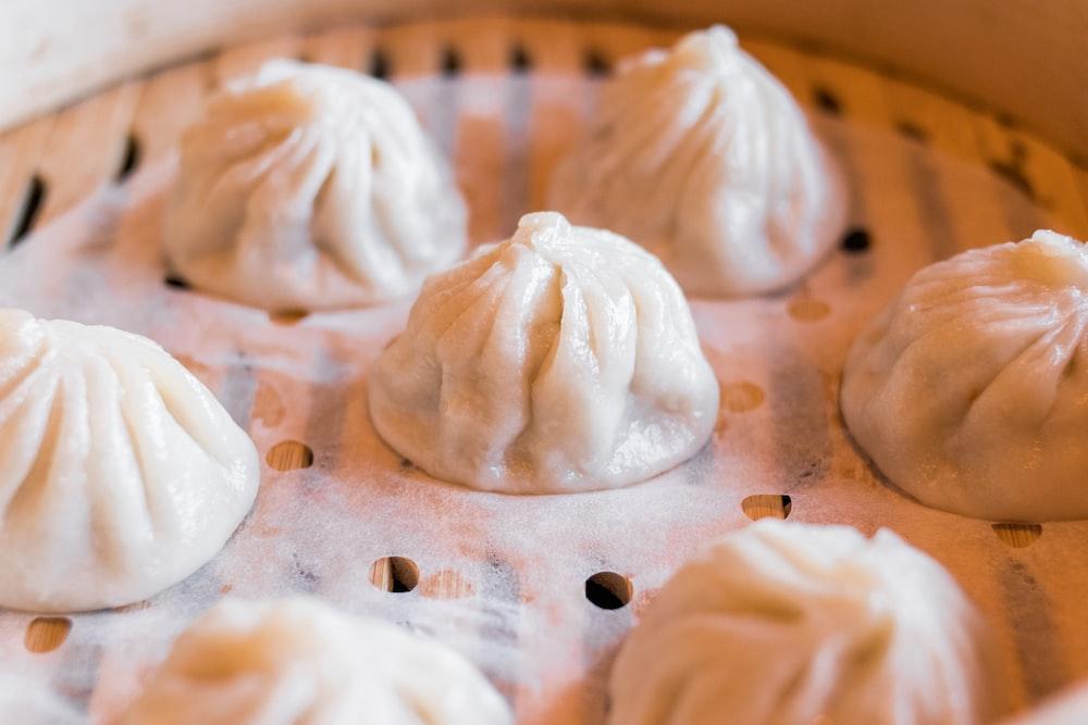 dumpling on tray
