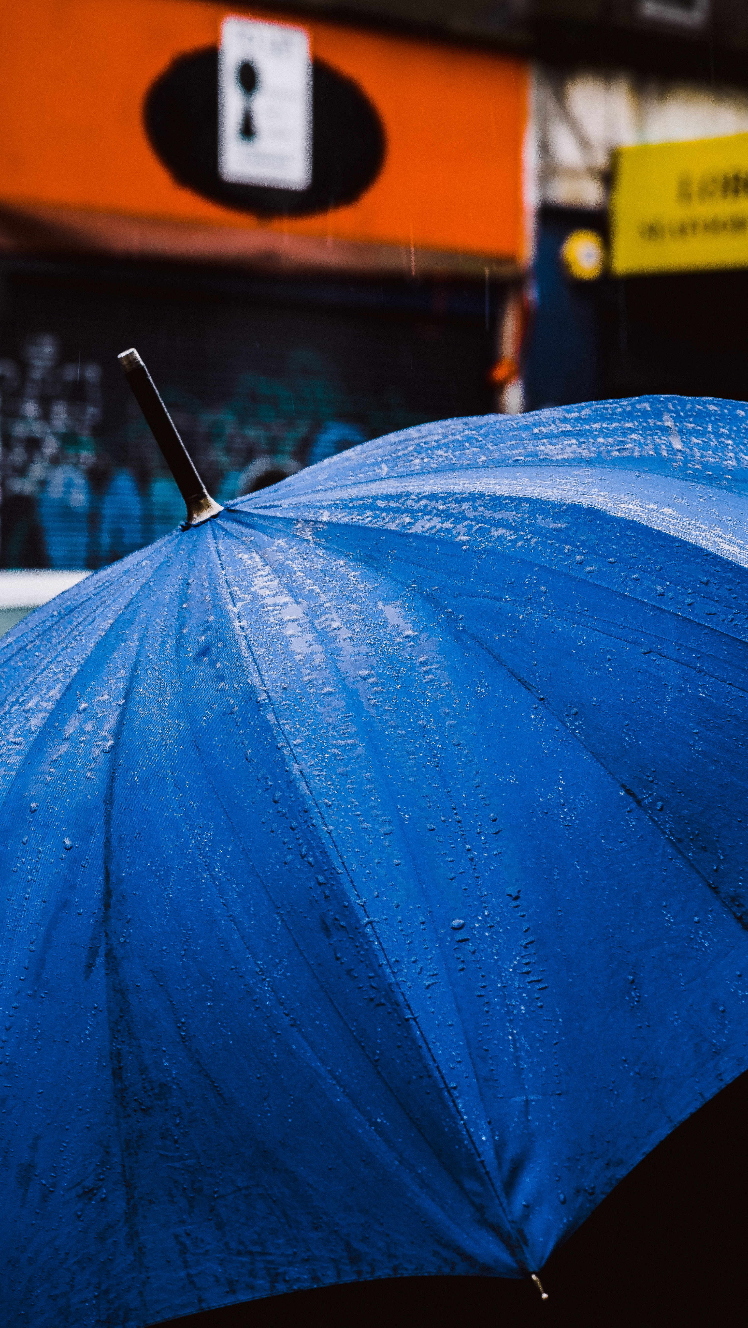 water droplets on blue umbrella