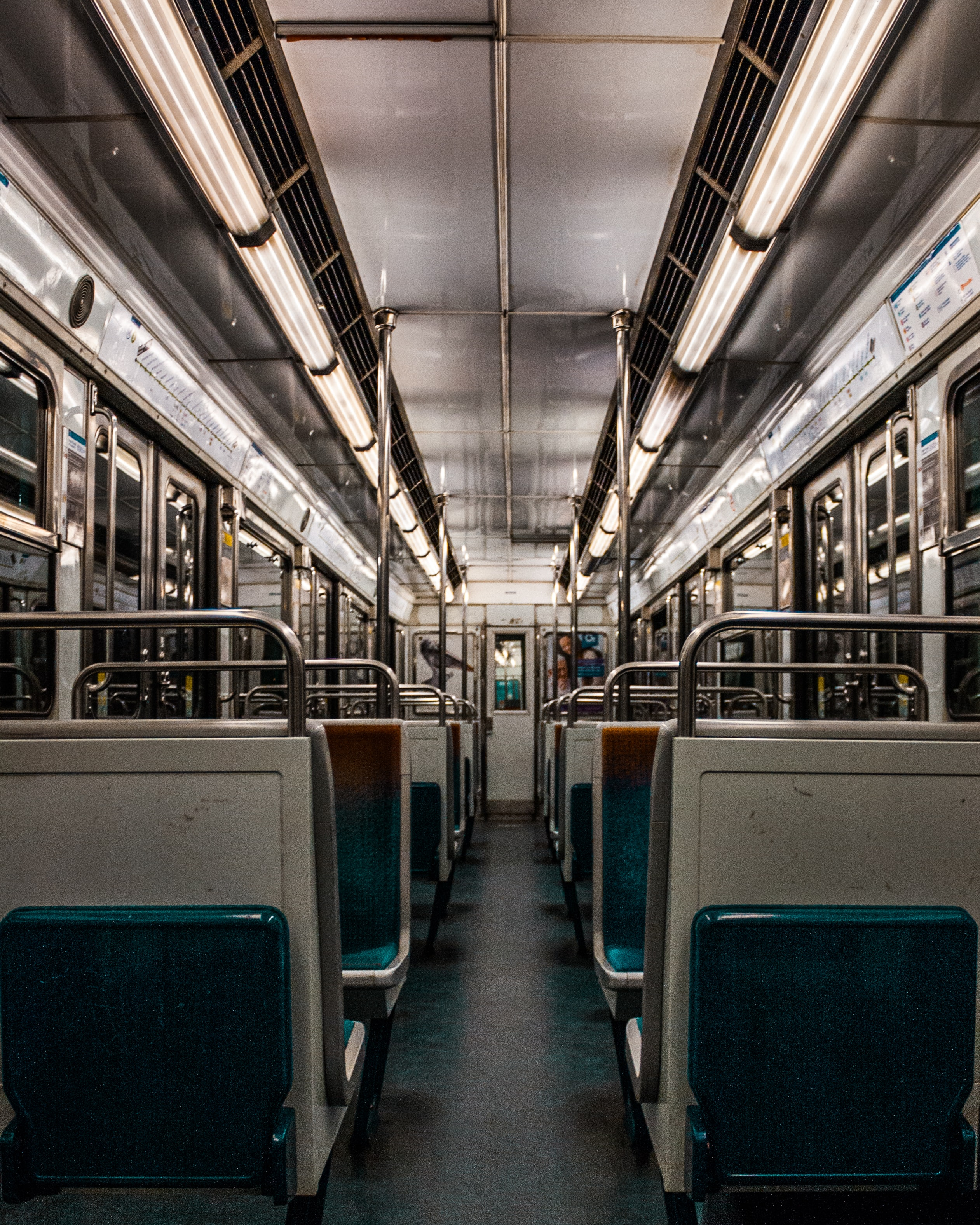 white and blue train chairs